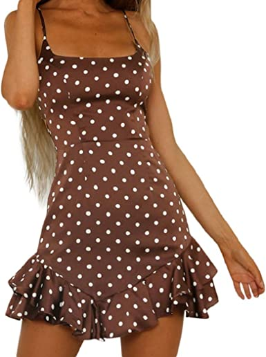 Dress Holiday Ladies Womens Beach Mini Floral Ruffled O Neck Dots Polka Fishtail Hip