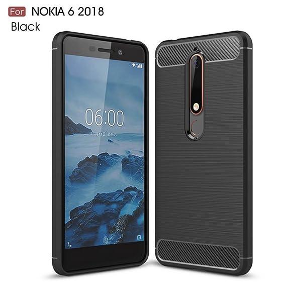newest collection d6597 5642b AVIDET Nokia 6.1 (2018) Case, Lightweight Slim Soft Carbon Fiber TPU Cover  with Brushed Design for Nokia 6.1/Nokia 6 2018 (Black)