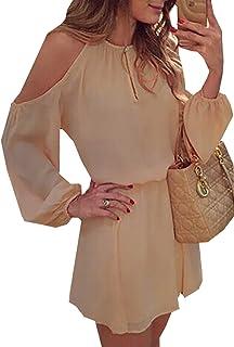 Mujeres Verano De Hombro Beachwear Casual Cortos Playa Camisa de Vestir Vestido Gasa Color Sólido Sin