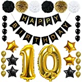 Happy 10th Birthday Banner Ballons Set for 10 Years Old Birthday Party Decoration Supplies Gold Black