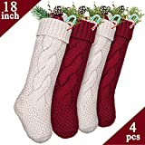 "LimBridge 4 Pack 18"" Large Size Cable Knit Knitted Christmas Stockings, Xmas Rustic Personalized Stocking Decorations for Family Holiday Season Decor, Cream/Burgundy"