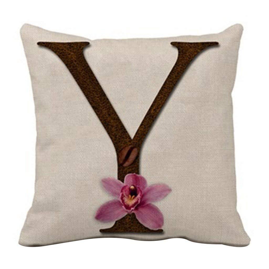 dragonaur Casual Vintage Linen Letters Print Throw Pillow Case Cushion Cover Home Decor size Medium (1#)