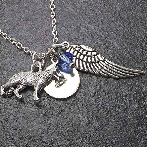 Personalized German Shepherd Dog Angel Wing Necklace with Swarovski Crystal and Custom Initial Charm Memorial -