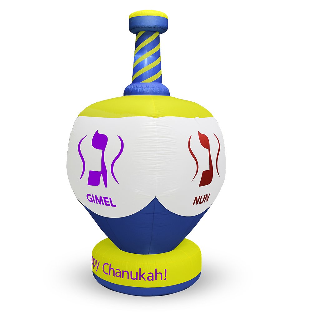 Zion Judaica Inflatable Lawn Jumbo Dreidel Indoor Outdoor Decoration with LED Night Glowing Lights - 8' Feet Tall 2017 Version