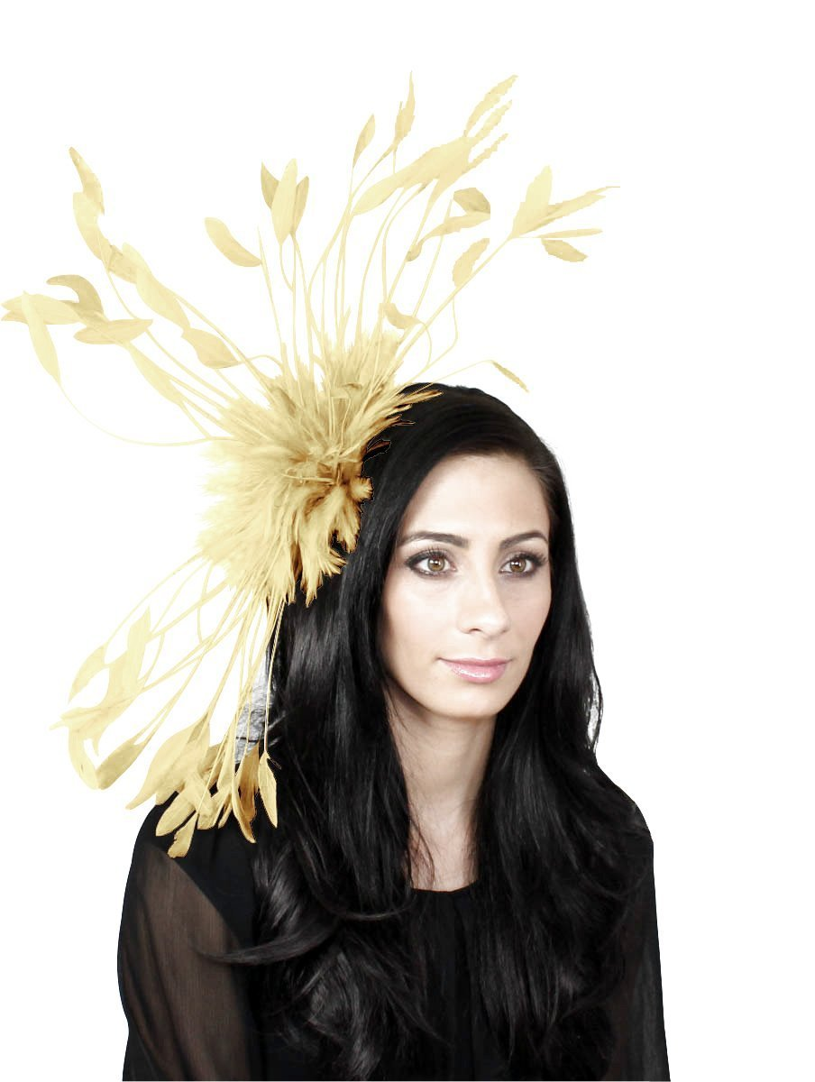Hats By Cressida Large Champagne Cream Feather Kentucky Derby Fascinator Hat With Headband