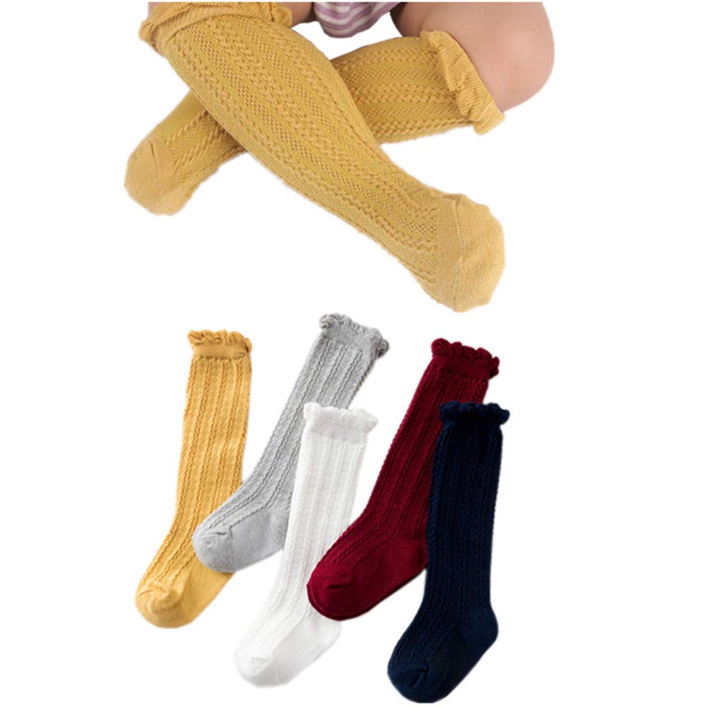 Newborn Baby Girl Boy Toddler Cable Stocking Knit Knee High Cotton Socks 5 Pack (1-2Years)