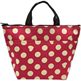 Mziart Oxford Cloth Insulated Lunch Bag Reusable Lunch Box Tote Bag Cooler Bag Lunch Box Package (Hot Pink Dots)