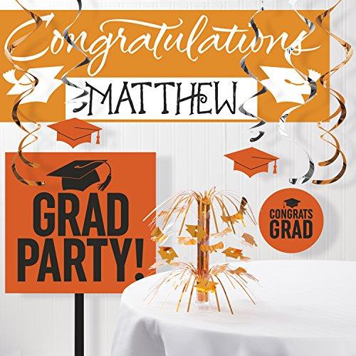 (Graduation School Spirit Orange Decorations Kit)