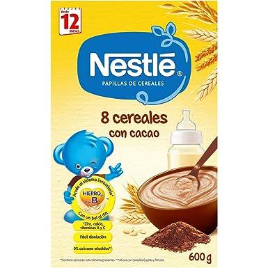 NESTLÉ Papilla 8 Cereales con Cacao - Alimento para Bebés - Paquete de 6 x 600