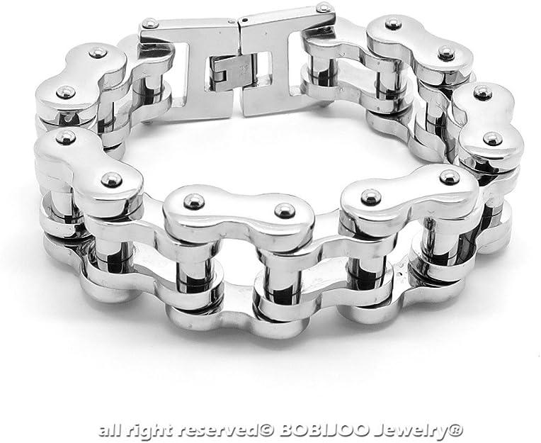 Bracelet Large Massif Homme Gourmette Grosses Mailles Torsad/ées Acier Inoxydable Biker BOBIJOO Jewelry