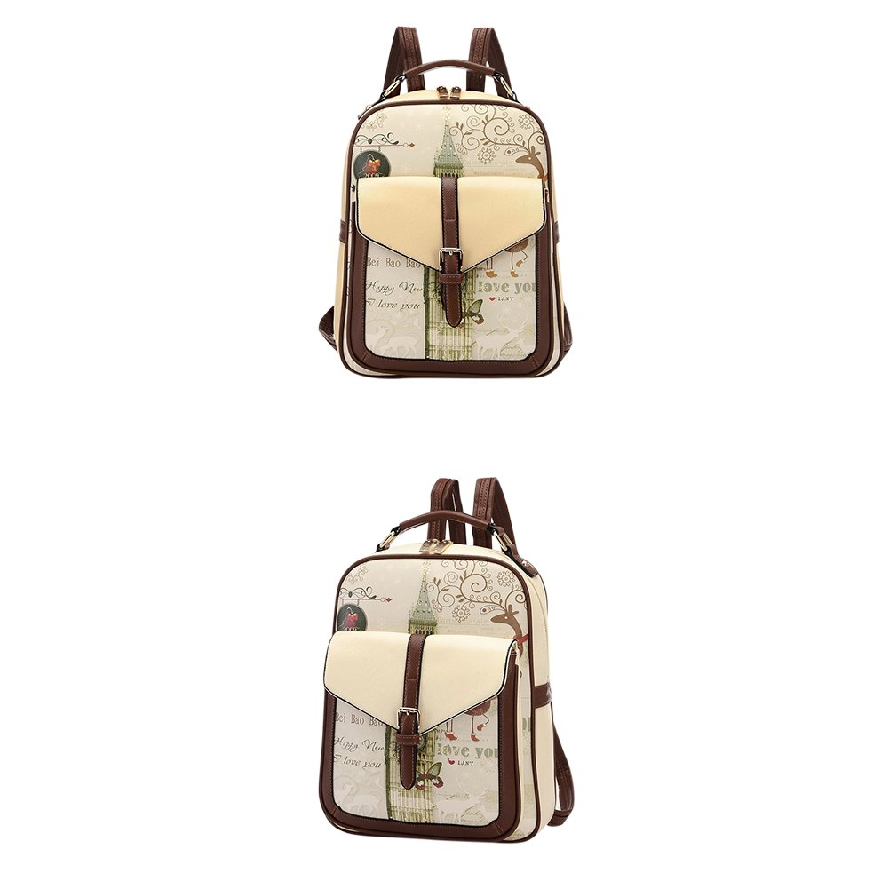 Vintage Fashion Graffiti PU Backpack Best Christmas Gift for Students