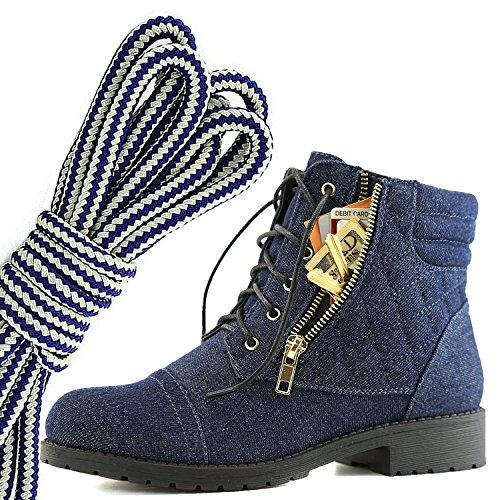 Dailyshoes Kvinners Militære Snøring Spenne Combat Boots Ankelen Høyt Eksklusivt Kredittkort Lomme, Marineblå Hvit Blå Denim