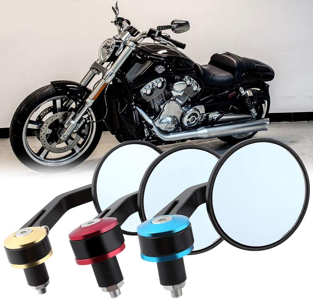 Gold Cuque Motorcycle Rear View Mirror 1 Pair 7//8 Round Handle End Scooter Side View Mirror Universal Aluminum Modified Handle Mirror Black Gold Blue Red Tail for Motorbike Street Bikes Scooters