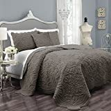 Vue Signature Plush Décor Charlotte Faux Fur Coverlet Collection, King, Taupe