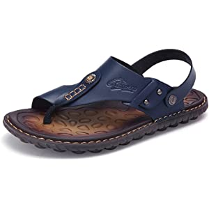 514da29ba OHCHSH Mens Sandals Slippers Slip On Flip Flops for Men Shoes Leather Toe  Ring Style Beach