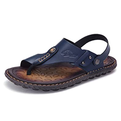 998149708ac OHCHSH Sandals for Mens Leather Slippers Boy Slip On Sandles Flip Flops  Thong US Size 6.5
