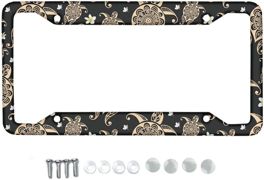 HUGS IDEA Metal License Plate Frame Mandala Style Lotus Flower Car Tag Frame License Plate Holder Lightweight Auto Car Accessories with Holes and Srews