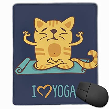 BBLUEEI Mouse Mat Stitched Edges, I Love Yoga Theme Cute ...
