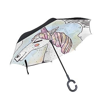 FANTAZIO Paraguas invertido Unicornio Keep On Dreaming Doble Capa protección UV inversa Paraguas Auto-Stand