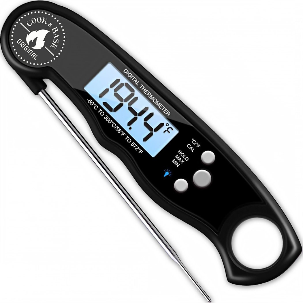 Instant Read Digital Food Meat Thermometer with Long Probe - Grill Cook BBQ and Bake.
