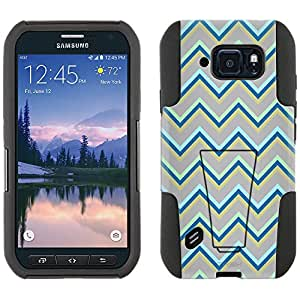 Samsung Galaxy S6 Active Hybrid Case Green Grey Chevrons 2 Piece Style Silicone Case Cover with Stand for Galaxy S6 Active
