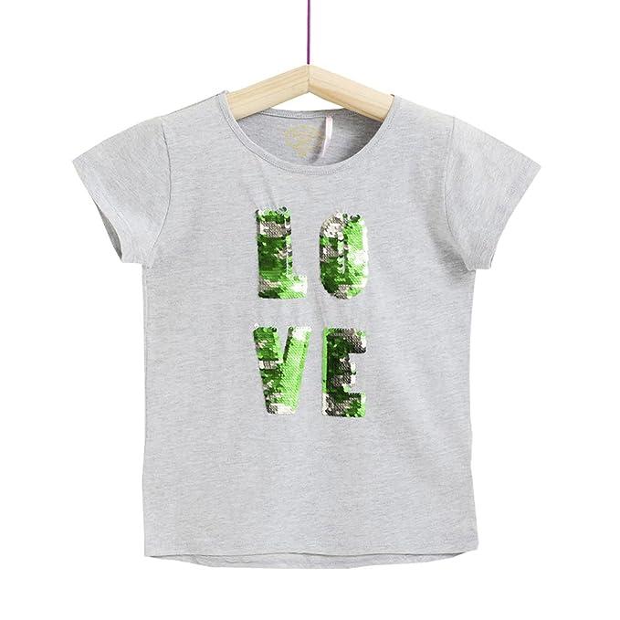 Petit Alo Camiseta Gris Manga Corta con Lentejuelas Reversibles (7-8 Años)