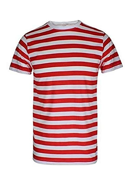 F&F Mens Short Sleeve Crew Neck Red and White Striped T Shirt Top ...
