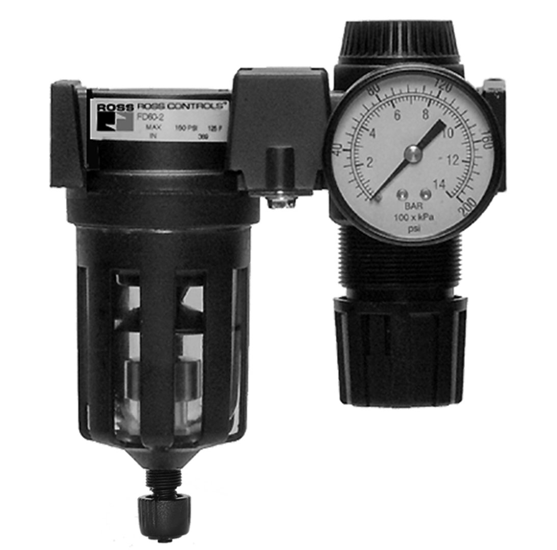 Ross Controls C5M11B3210 Mid-Size Series Filter Regulator Combination, Piston, Auto Drain, Metal Bowl, 5 µm Filter, 0-100 (0-6.9) psi, 0-200 (0-14) Gauge, Threaded Ports 3/8'' BSPP