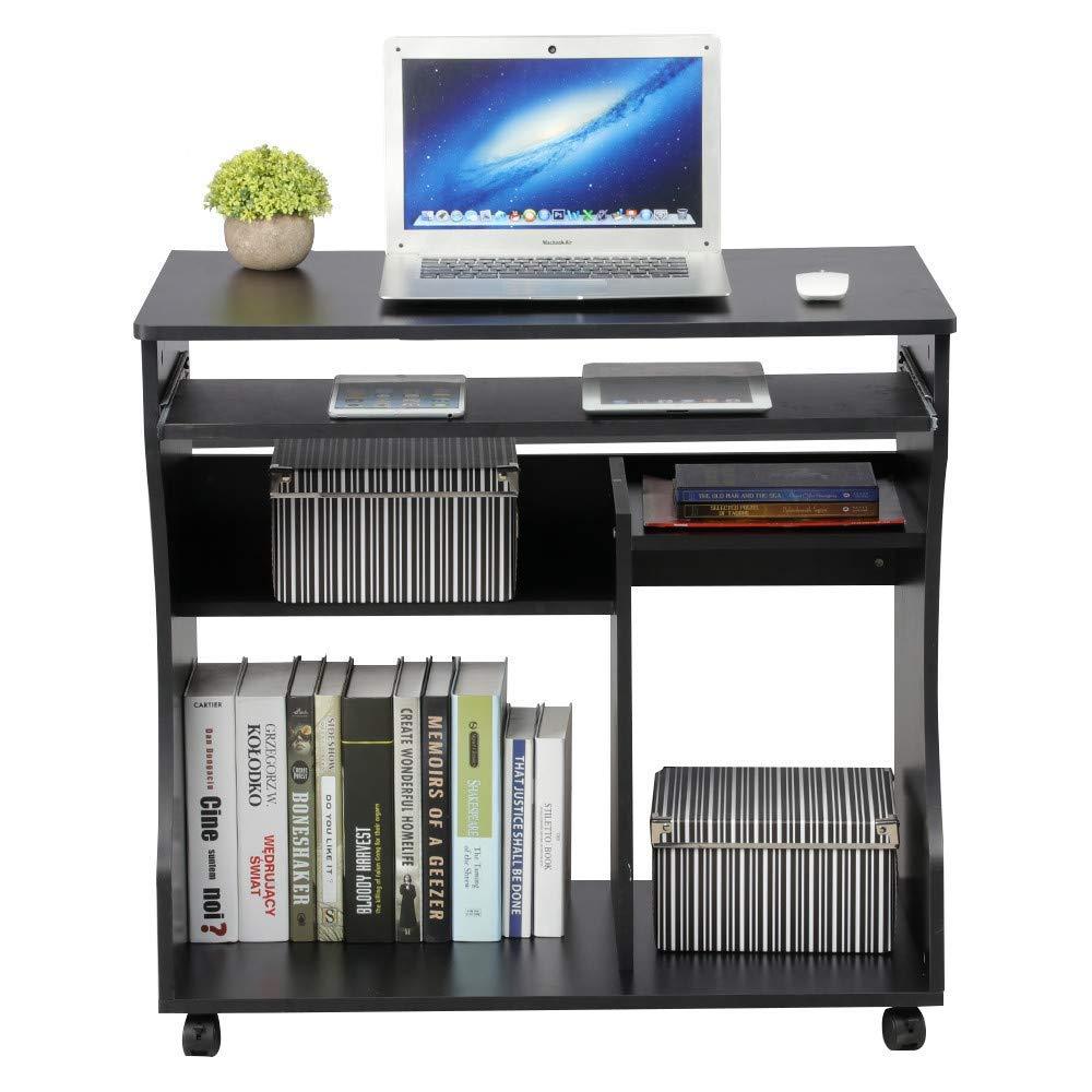 Yaheetech Scrivania Computer con libreria per Cameretta Studio Ufficio Potra pc Mobile con 4 Ruote (Bianca)