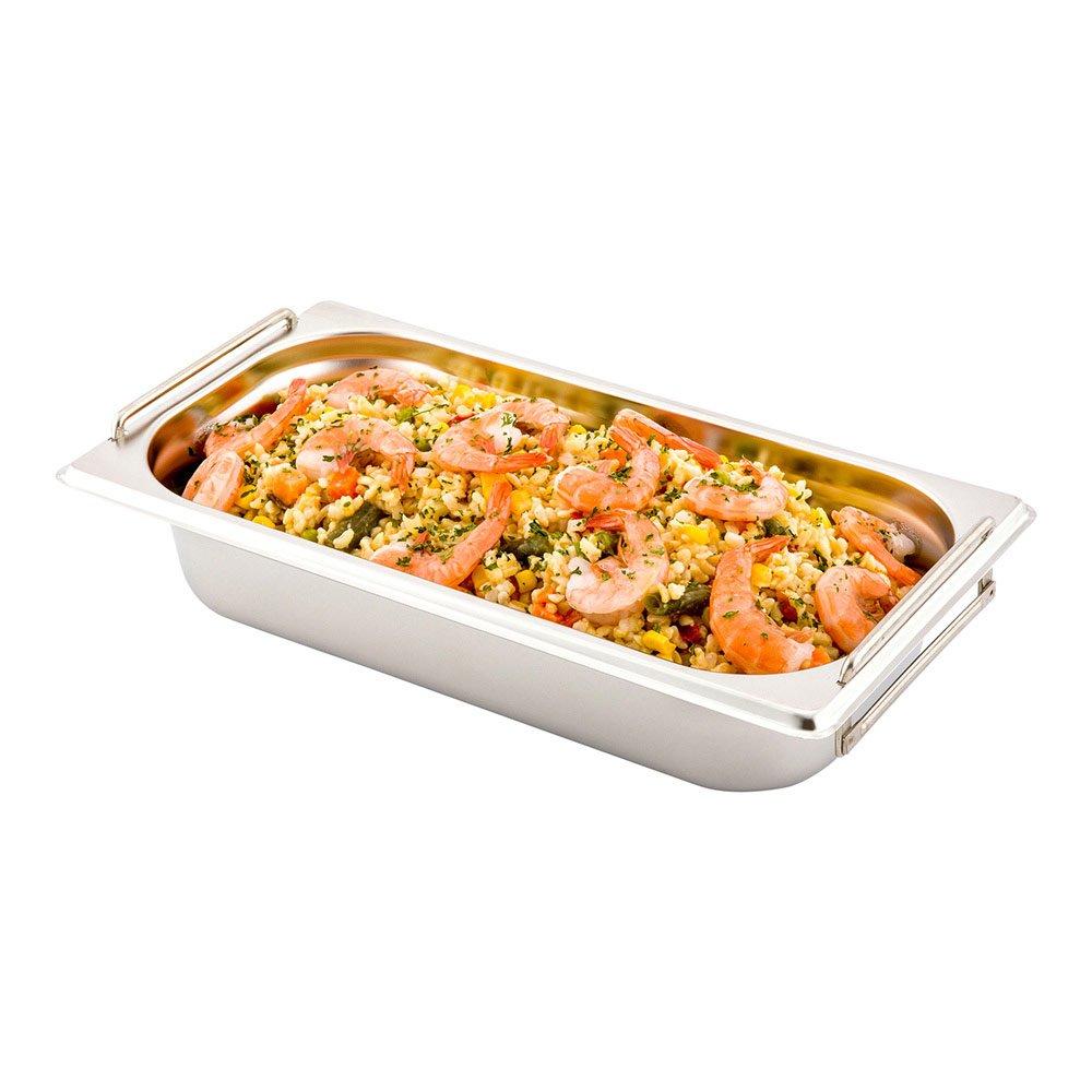 1/3 Steam Table Pan - 2.5'' Deep - Collapsible Handles - Anti Jam - Commercial Grade Stainless Steel - 1ct Box - Met Lux - Restaurantware