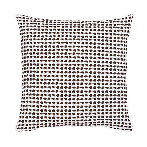 Mocha Organic Cotton (Carousel Designs Mocha Elephant Parade Throw Pillow 18-Inch Square Size - Organic 100% Cotton Throw Pillow Cover + Insert - Made in the USA)