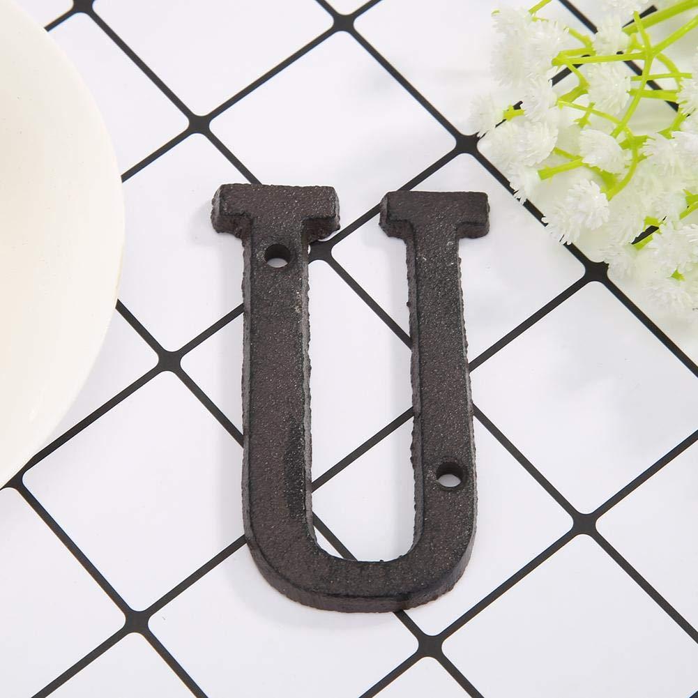 Domybest Letras de metal para puerta con n/úmero de casa con tornillos de fijaci/ón