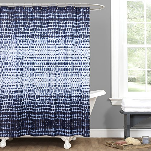 Cheap Lush Decor Lush Décor Arney Tie Dye Window Curtain Panel, 72″ x 72″, Indigo