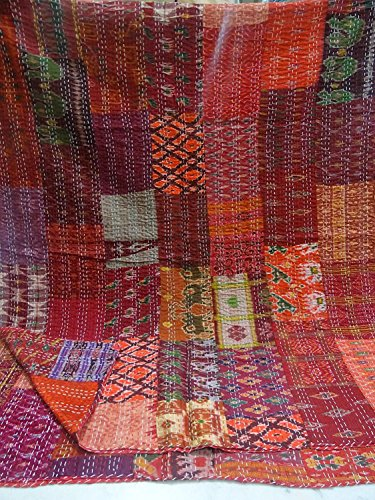 Tribal Asian Textiles Indian Silk Patch Work Kantha Quilt, Kantha Blanket Bedspread, Patch Kantha Throw, Kantha, Kantha Rallies Indian Sari Quilt,