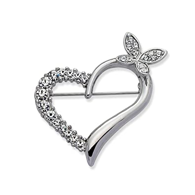 Jodie Rose Clear Crystal Heart Pin Brooch L7HVvvTC