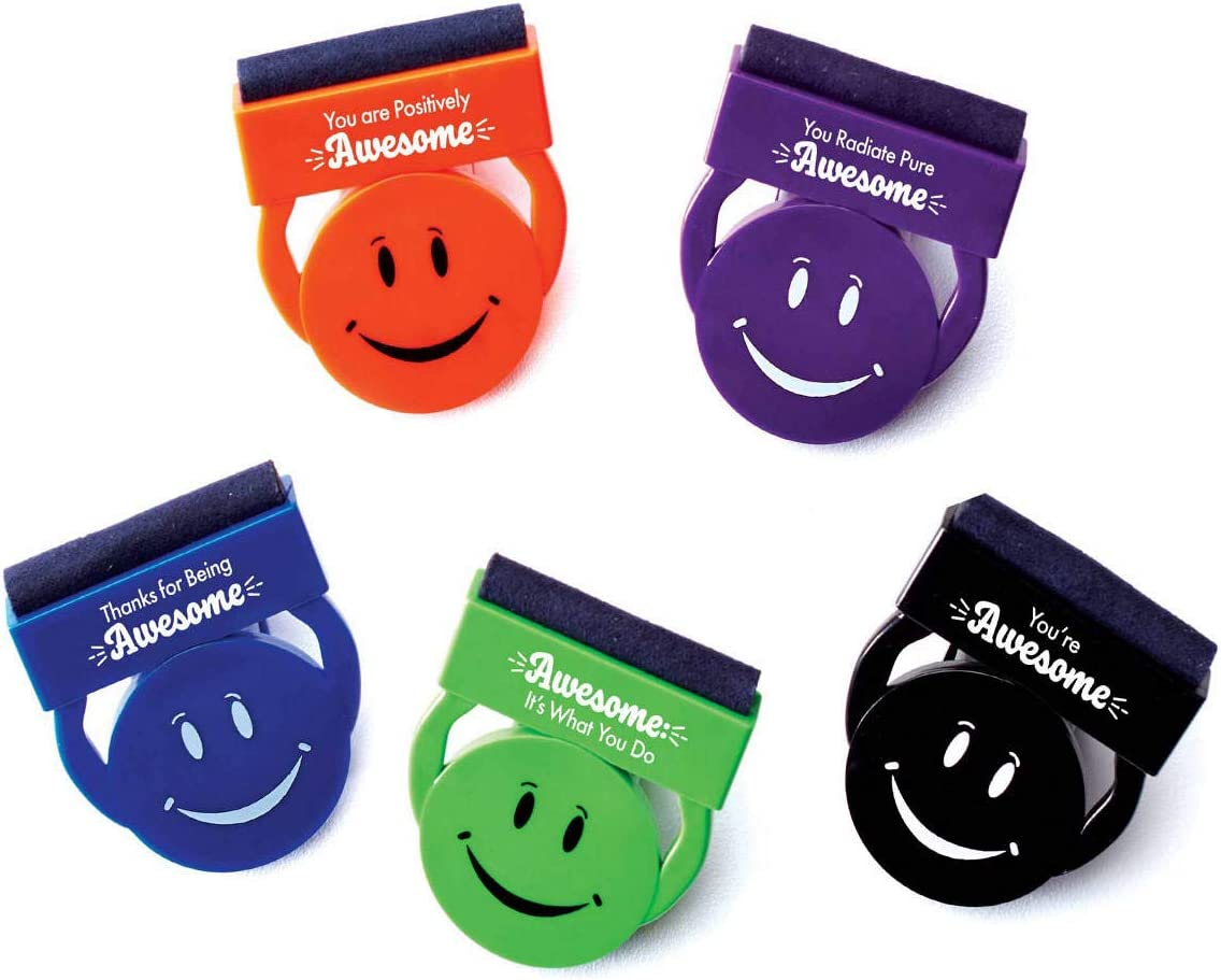 Privacy Web Cam Cover & Screen Cleaner Clips - Pack of 5, 1 of Each Color - Movitvational Messages - Employee Appreciation and Recognition Gift