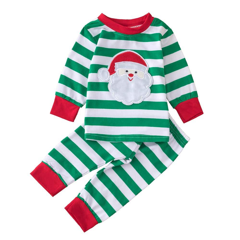 FeiliandaJJ Baby Clothing Set, 2Pcs Infant Toddler Baby Boy Girl Christmas Stripe Santa Claus Tops+Pants Xmas Outfits Clothes