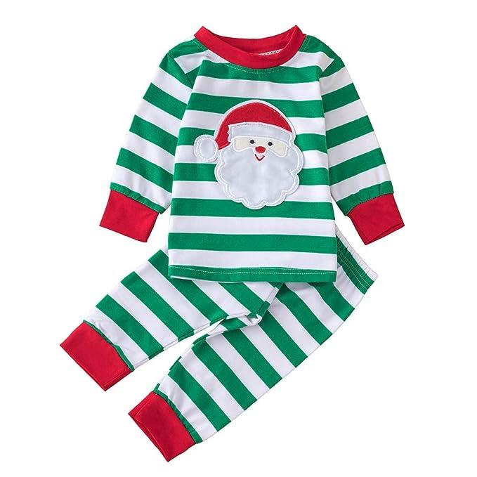 K-youth Ropa Bebe Niño Invierno 2018 Ofertas Infantil Navidad Rayas Papá Noel Pijama Recien Nacido Bebé Niña Sudaderas Manga Larga Camisetas Blusas + ...
