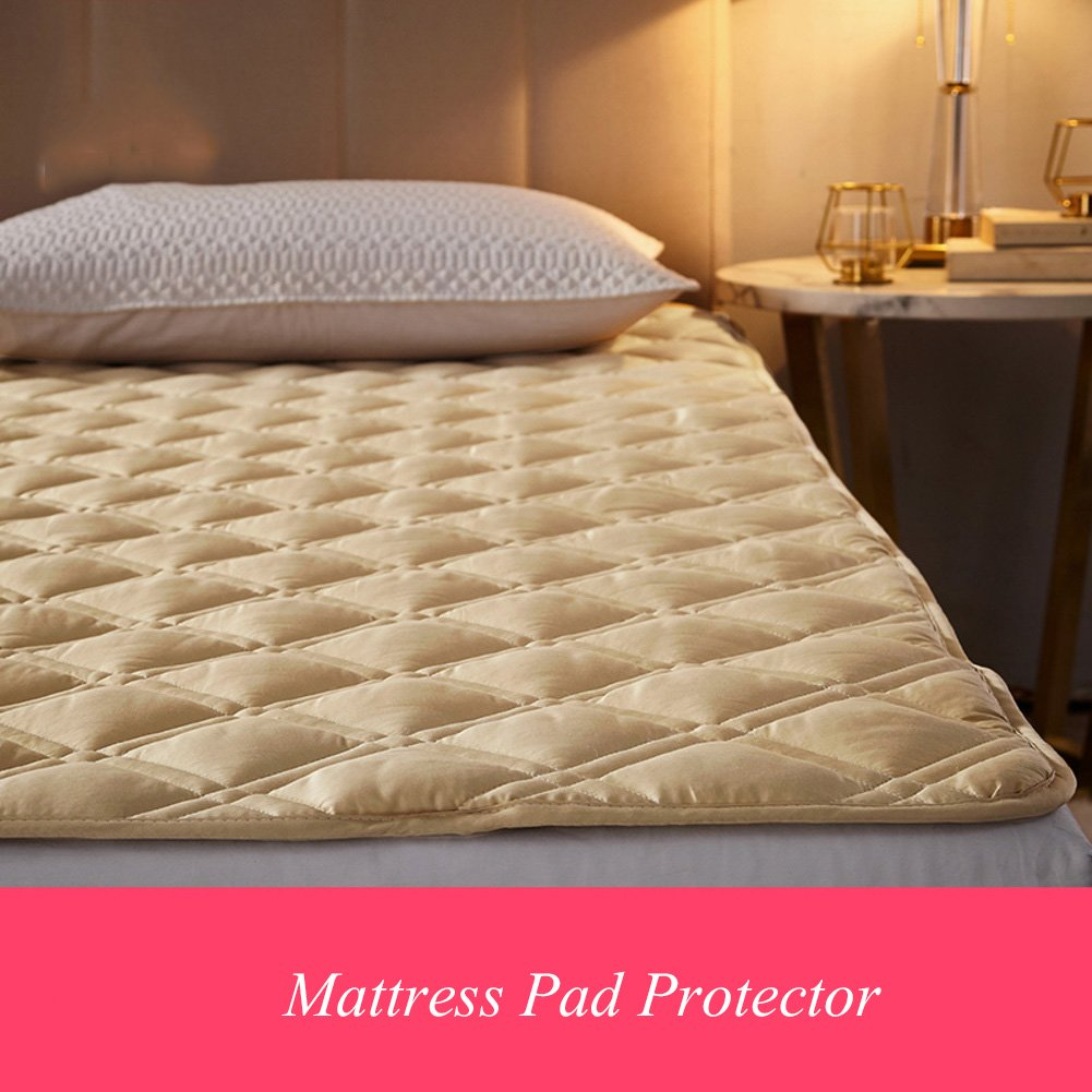 HYXL Double-sided Cotton Non-slip Breathable Mattress pad protector,Quilted topper cover with hypoallergenic,Antibacterial,Deep pocket fitted skirt-E 90x200cm(35x79inch)