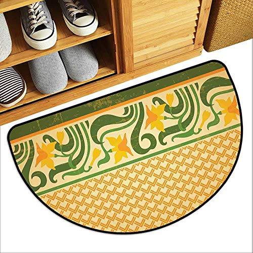 - YOFUHOME Art Nouveau Printed Door mat Fresco Ornament Geometric Pattern with Exotic Daffodil Floral Border Durable W23 x L15 Orange Yellow Green