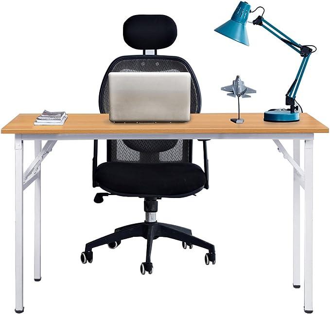 Need Bureau d'Ordinateur Informatique Pliante 120x60cm Table d'étudeà dîner Pliable pour MaisonBureau, Teck Chêne Couleur & Blanc,AC5BW