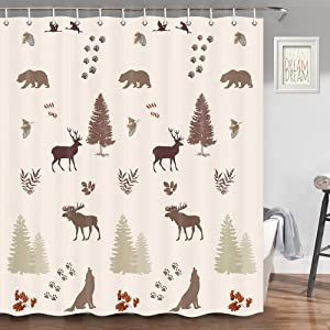Bear Shower Curtain for Bathroom, Bear Elk Moose Wolf Pine Forest Wildlife Rustic Cabin Shower Curtain, Farmhouse Bathroom Set, Fabric Shower Curtain Hooks Include, 70 in