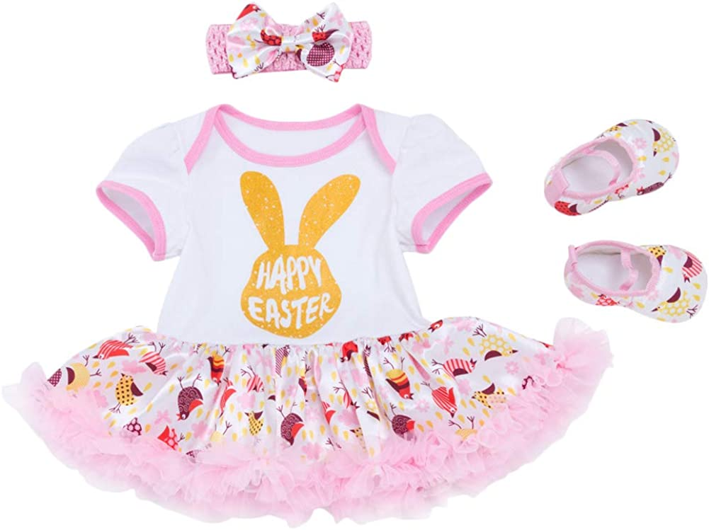 Baby Girl Short Sleeved Romper Sequin Bow Polka Dot Bubble Skirt Headband Leg Set 4Pcs