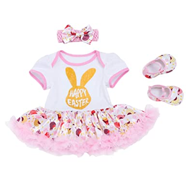 e9f18989181e4 Newborn Baby Girls Cotton 2/3/4pcs Set My 1st Easter Bunny Eggs Romper Tutu  Dress Headband Leg Warmer Shoes Outfit Set