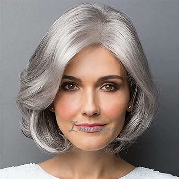 NiceLisa - Peluca de disfraz de mujer vieja, color gris: Amazon.es: Belleza