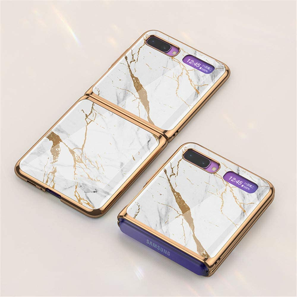 4 INSOLKIDON Compatible with Samsung Galaxy Z Flip Case PC Hard Back Cover Folding combination Phone Protective Shell Scratchproof protective case Bumper ultra thin Glass mirror Hard shell