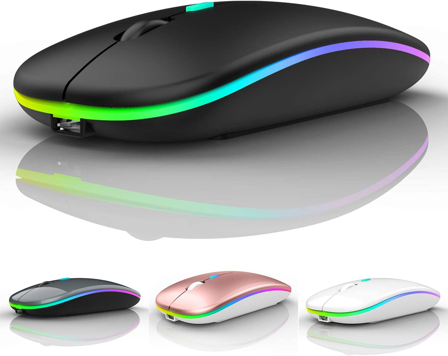 Bluetooth Mouse for ipad,Bluetooth Mouse for MacBook Air/Mac/MacBook Pro/Mini/ipad Pro/iMac/Laptop,Rechargeable Wireless Mouse for MacBook Air/MacBook pro Chromebook Laptop PC (Black)