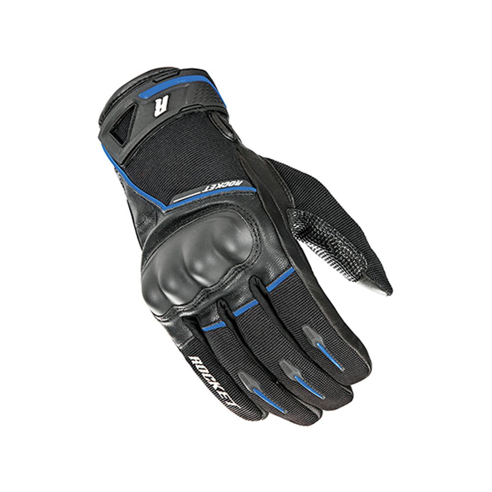 Joe Rocket Supermoto Mens On-Road Motorcycle Leather Gloves - Black/Blue / 2X-Large
