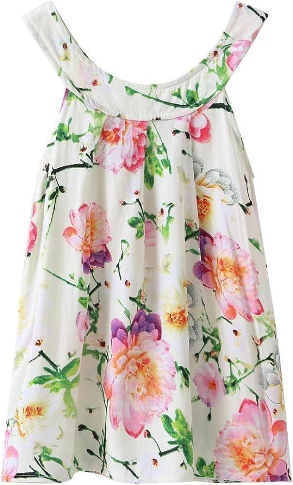 Cotton O-Neck Pullover A-Line Swing T-Shirt Dresses TTINAF Summer Set Baby Kids Sleeveless Print Sundress