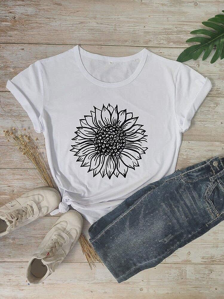 Women Sunflower Graphic T-Shirt Cute Good Vibes Farm Country Faith Tops Tees